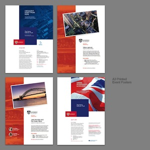 Various event posters spanning two Brandings of the Henry Halloran Trust organisation