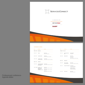 A glimpse of the presentation template prepared for the Services Connect professional conference